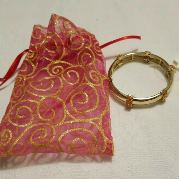 Gold tone Stretch Panel Bracelet Faux Coral Orange